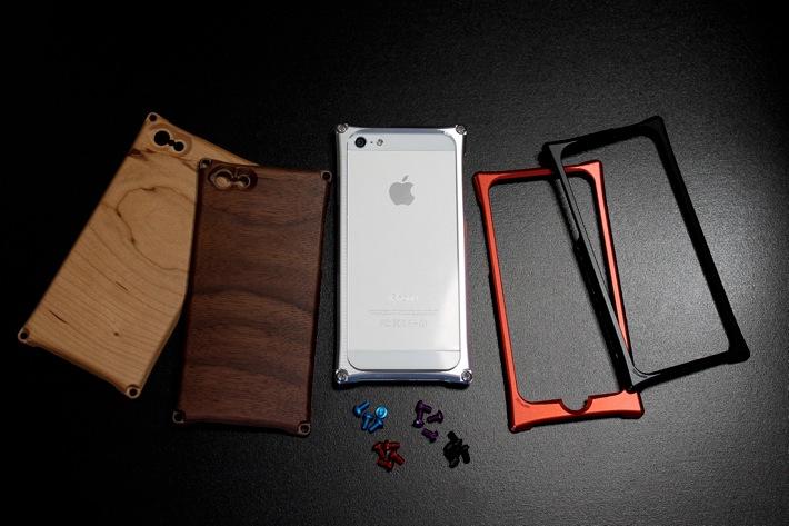 ジュラルミン削り出し アルミバンパーと天然木のハイブリッド Smart HYBRID for iPhone5